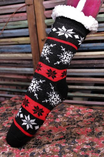 Christmas Sherpa Slipper Socks with Safety Grippers