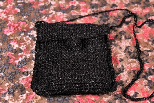 Black Glitter Crochet Evening Bag with Lace Edges (Handmade)