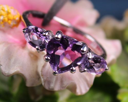 Sterling Silver Amethyst Heart Ring and Semi-Precious Stones