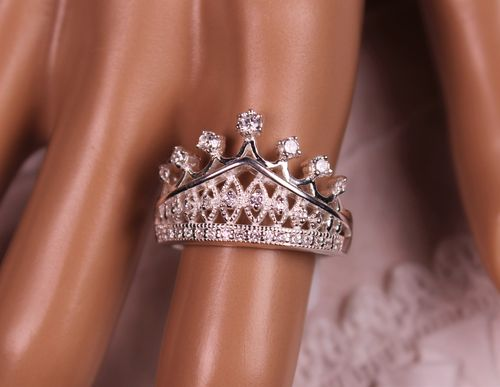 .925 Sterling Silver Crown Ring With CZ And Pure Silver Plating Sz 9