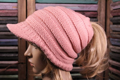 Ponytail or Messy Bun Brimmed Beanie Hat with Fur Lining