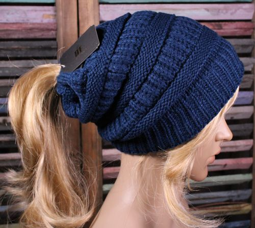 Ponytail or Messy Bun Fur Lined Beanie  Asst Colors