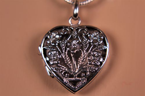 Heart Locket Pendant Sterling Silver with  Flower Design