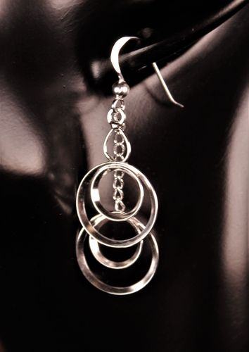 925 Sterling Silver Earrings Multiple Ring Hoops Danglers on Sterling Chains