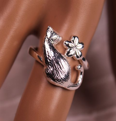 Sterling Silver Cat and Flower Ring Chunky Style Adjustable