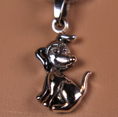 Oxidized Sterling Silver Dog Necklace Pendant Whimsical Puppy Lover