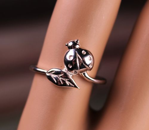 Sterling Silver Ring Ladybug on a Leaf Wraparound Style for Nature Lover