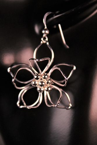 Sterling Silver Flower Earrings 3D Layers of Petals Sunflower