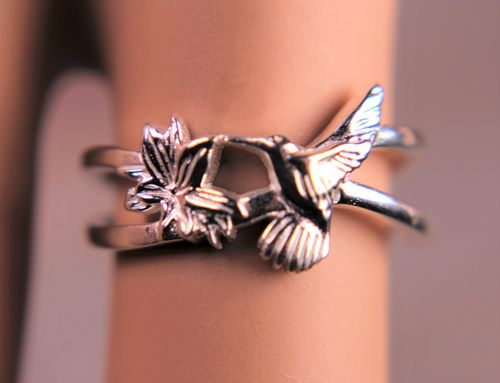 Sterling Silver Hummingbird Ring with Flower Silver Plated