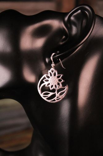 Sterling Silver Flower Earrings Round Sunflower Silhouette Danglers