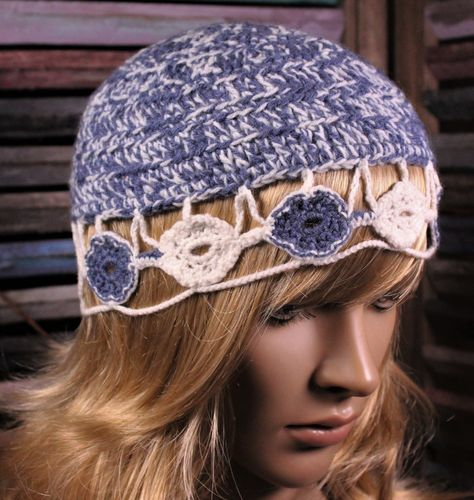 Boho Crochet Hat Blue and White Flower Wool and Acrylic (Handmade)