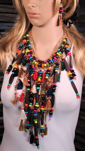Colorful Boho Long Fringe Necklace Wood Beads and Tassels with Earrings