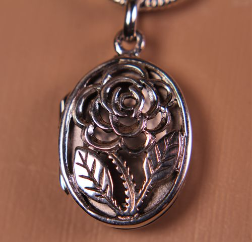 Sterling Silver Rose Locket Pendant Oval Flower Romantic Design