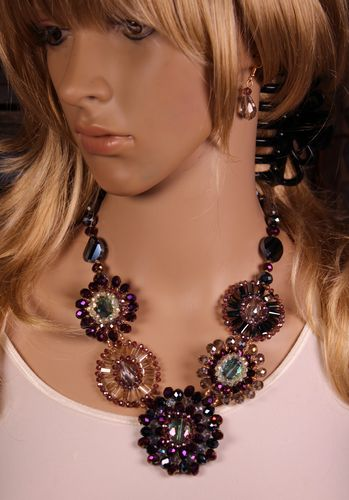 Purple Multi Glass Beaded Disc Ornate Statement Necklace Set