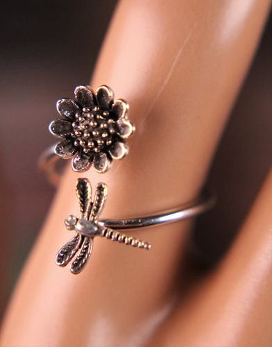 Sterling Silver Ring Dragonfly and Sunflower Bypass Style