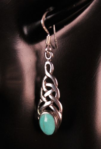Sterling Silver Earrings Turquoise Stone on Celtic Knot Dangle Style