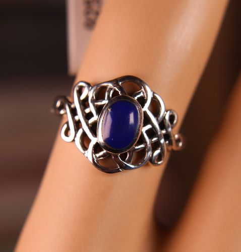 Sterling Silver Ring Celtic Knot With Synthetic Lapis Stone