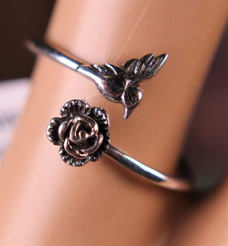 Sterling Silver Hummingbird Ring with Rose Flower Semi-Adjustable