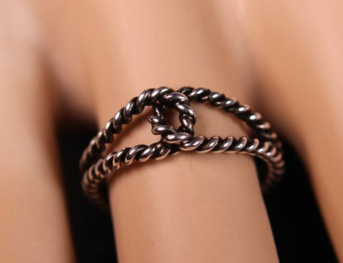 Sterling Silver Rope Ring Interwoven Double Loop Knot Design