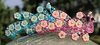 Peacock Hair Clip Barrette with Flowers Rhinestones and AB Crystals