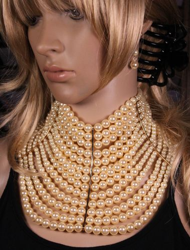 Multi Strand Pearl Necklace Choker Collar Jewelry Set