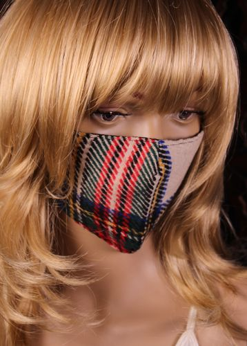Woven Tartan Plaid Face Mask Cotton with Adjustable Ear Loops