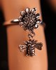 Sterling Silver Sunflower Ring Oxidized with Dangling Bee Charm