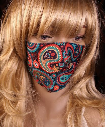 Colorful Paisley Face Mask with Filter Pocket Reusable Cotton Fabric