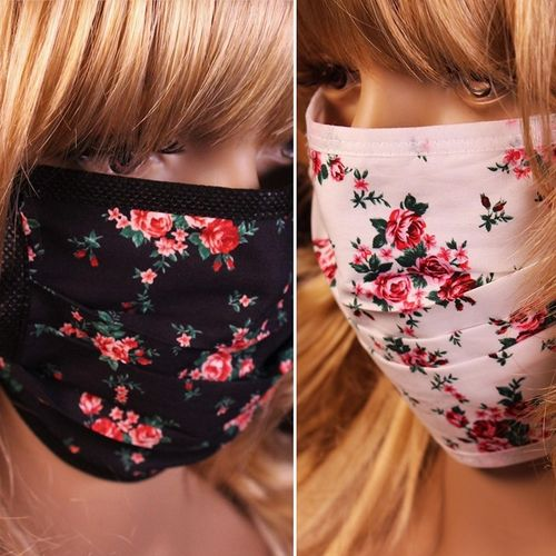 Face Mask Victorian Roses Reusable Cotton  Mask Black or White