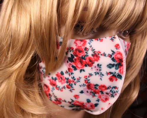 Face Mask Floral Breathable Thin Stretch Roses Fabric