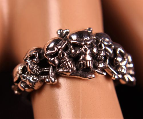 .925 Sterling Silver Skull Ring Gothic Heavy Metal Biker Style