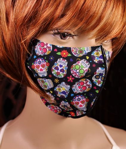 Face Mask Sugar Skulls Breathable Thin Stretch Day of the Dead