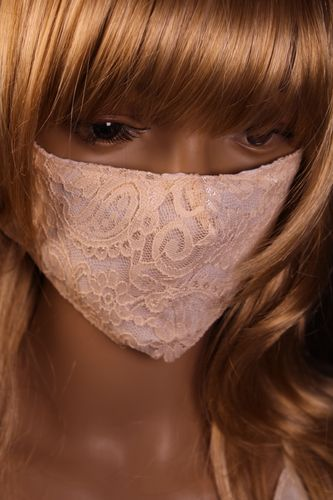 Lacy Face Mask Flowers and Paisley Lace on White Interior Layer