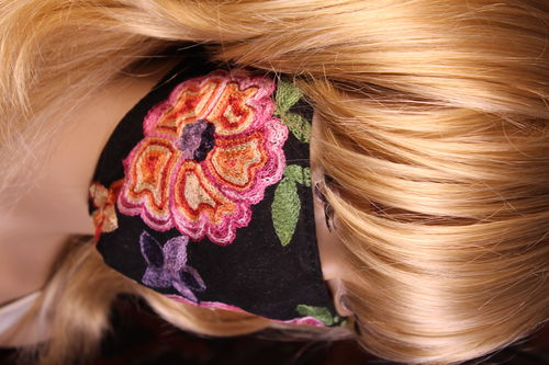 Boho Embroidered Flower Face Mask with Adjustable Ear Loops