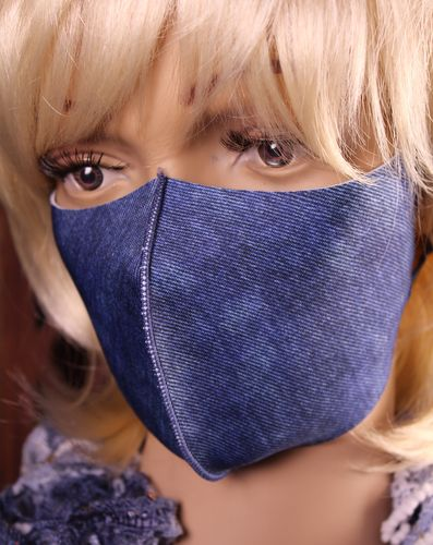 Face Mask Denim Look Breathable Thin Stretch Fabric