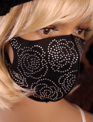 Face Mask Black with Rhinestone Roses Breathable Stretch Fabric