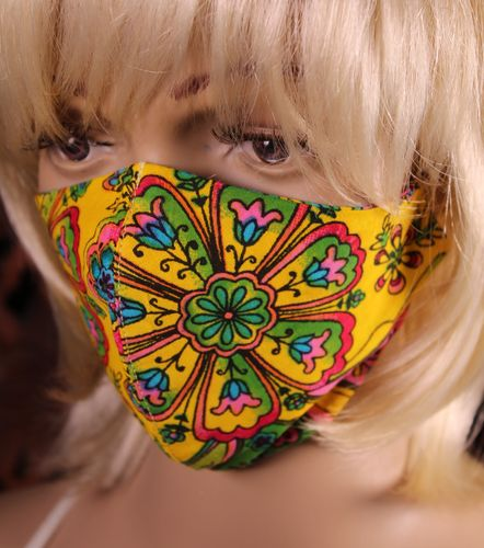 Face Mask Boho Hippie Flowers Bold and Colorful Assorted Colors