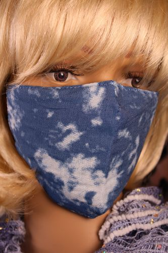 Bleached Denim Face Mask Comfortable Cotton and Adjustable