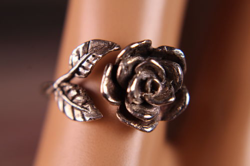Aged Sterling Silver Rose Ring With Leaves Semi Adjustable
