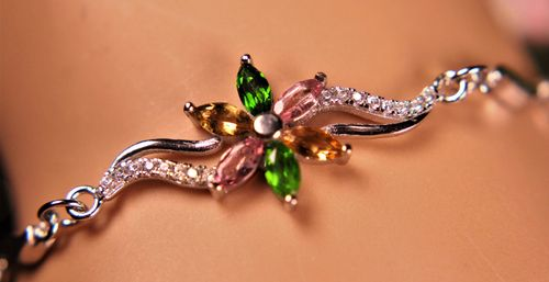 La Preciada Sterling Flower Bracelet Colorful Tourmaline and CZ