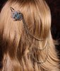 Turquoise and Silver Draping Head Chain Flower Floral Hair Snap Clip