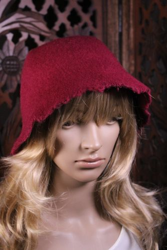 Hippie Boho Bucket Hat Wool Cloche with Hobo Frayed Edges